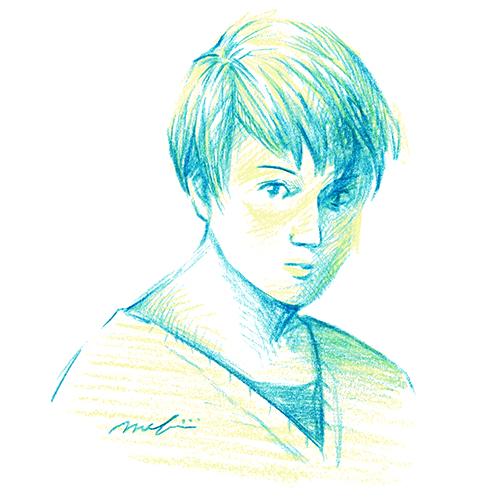少年 黄色と青