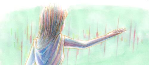 雨の少女_イラスト_色鉛筆