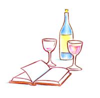 テーブルトップ_ワイン_本_色鉛筆