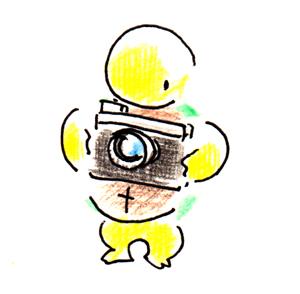 カメラ_亀_イラスト_色鉛筆