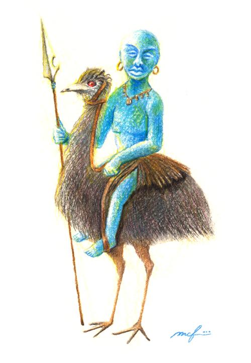 エミュー国の王子_トルコ石_ターコイズ_顔_イラスト