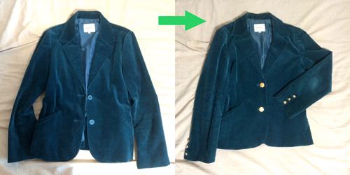 ジャケット_リメイク_六角形ボタン