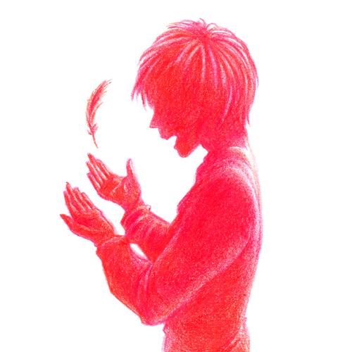 羽根と少年01_色鉛筆イラスト