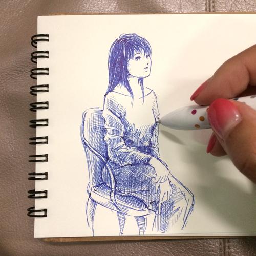 青いボールペン_女性イラスト