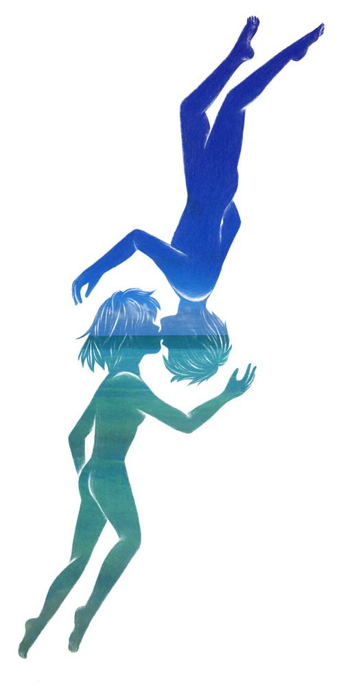 キス_少年と少女_写真_空と海