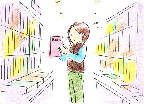本屋にて_色鉛筆イラスト