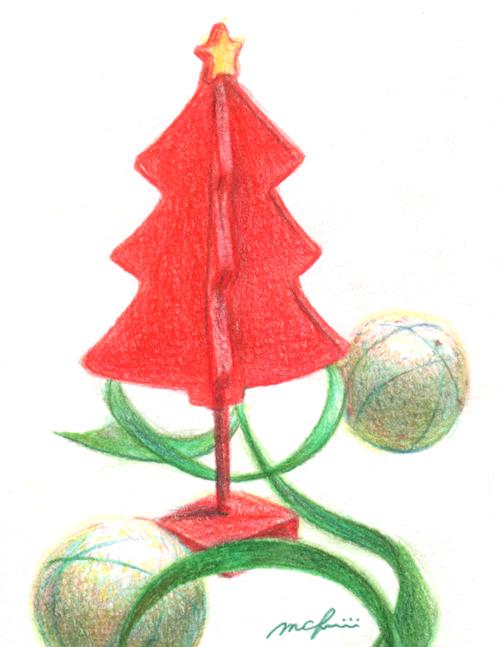 クリスマスツリー_色鉛筆イラスト