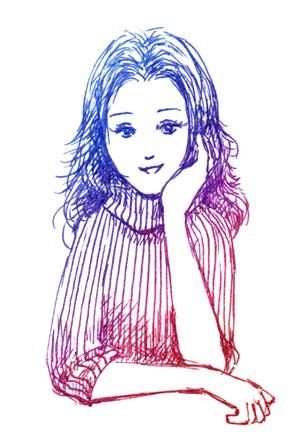 女性_おねだり_ペン色鉛筆イラスト