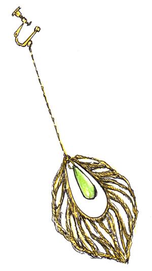 緑の小袖_グリーンスリーブス_イヤリング_片方_緑の石