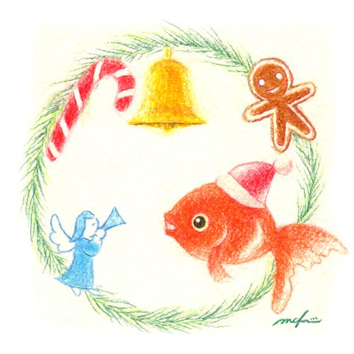 金魚トマト_クリスマスリース_プレゼント_色鉛筆イラスト