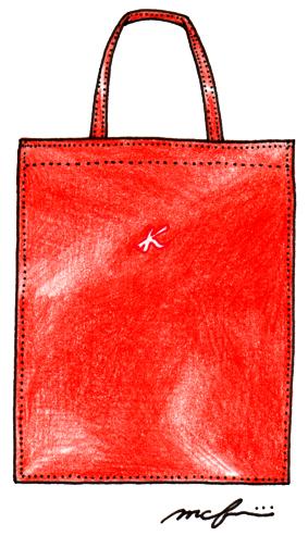 キタムラ_ショッピングバッグレッド_ペン色鉛筆イラスト