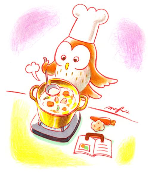 フクロウ_料理つくる_スープ_色鉛筆マーカーイラスト