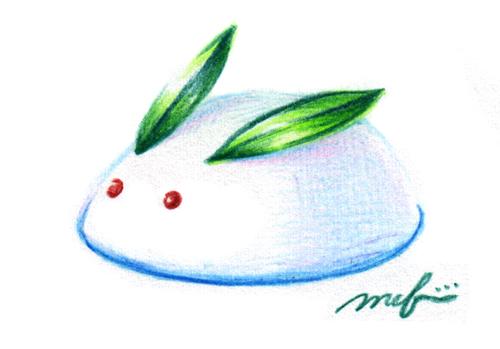 雪ウサギ_色鉛筆イラスト