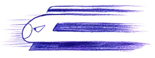 新幹線0系_超特急_色鉛筆イラスト