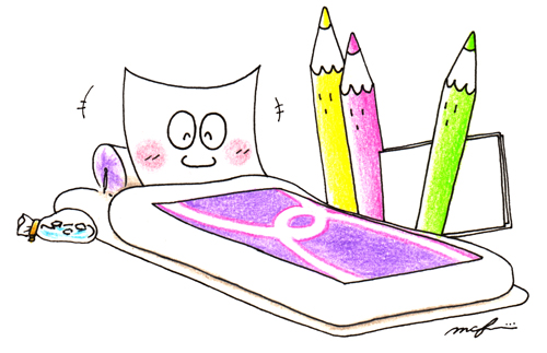 風邪を引いた紙_色鉛筆ペンイラスト