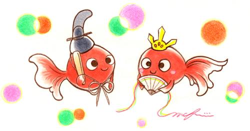 金魚_ひなまつり_おひなさま_色鉛筆マーカーイラスト