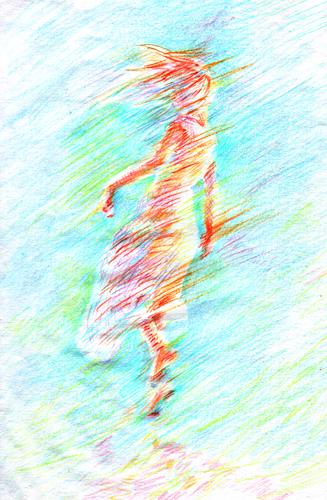 風の中の女性_色鉛筆イラスト