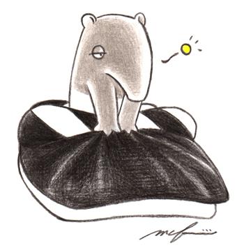 獏の映画監督_寝ぼけ_色鉛筆イラスト