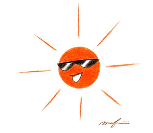 太陽とサングラス01_色鉛筆イラスト