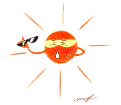 太陽とサングラス02_色鉛筆イラスト