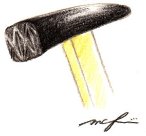 すずがみ07_金槌_色鉛筆イラスト