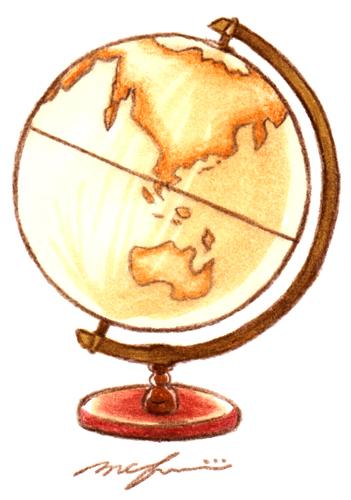 地球儀_色鉛筆マーカーイラスト