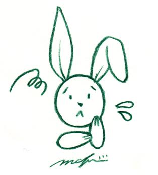 ネットウサギ_困る_色鉛筆イラスト