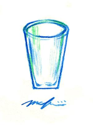 ガラスのコップ01_色鉛筆イラスト