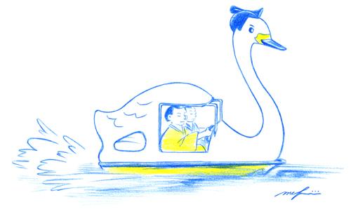 スワンボート_お相撲さん_力士_色鉛筆イラスト