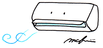 クーラー_色鉛筆ペンイラスト