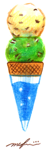 アイスクリーム_色鉛筆マーカーイラスト