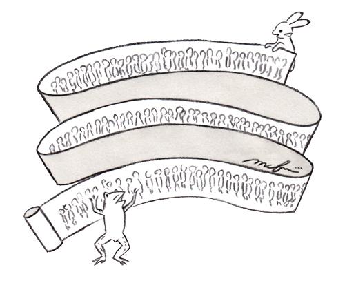 鳥獣戯画_オリジナル_色鉛筆マーカーイラスト