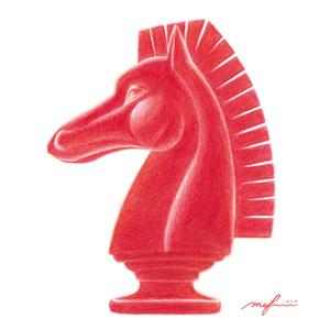チェスの騎士_色鉛筆イラスト