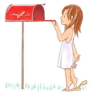 郵便受け_色鉛筆マーカーイラスト