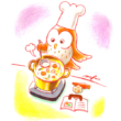 料理するフクロウ